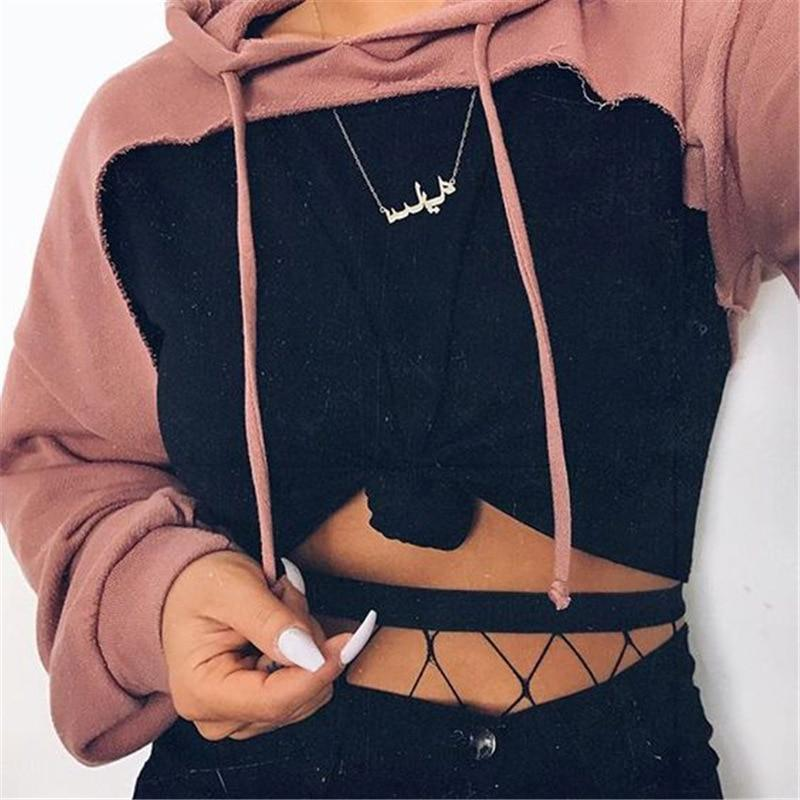 Drop-shoulder front cut out hoodies sweatshirt 2018 Women's fashion pink hoodie withuotelab-uotelab