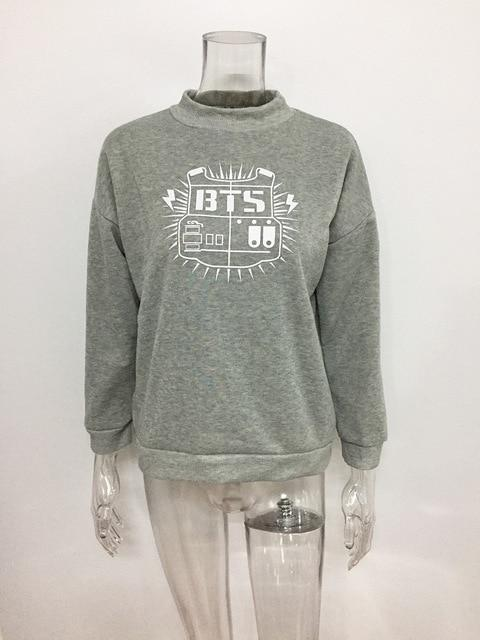2018 BTS Album Hoodie Female Sweatshirts Turtleneck BTS Print Long Sleeve Womenuotelab-uotelab