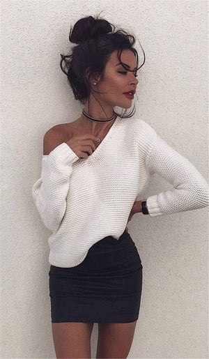 Fashion Women Long Sleeve V-neck Sweater Pullover Knitted Loose Causal Top Soliduotelab-uotelab