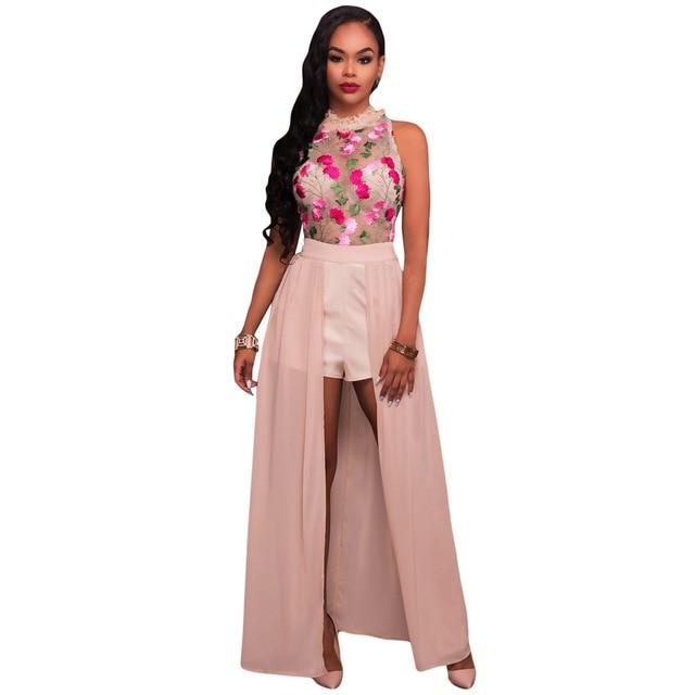 Sexy Women Long Jumpsuit Sheer Mesh Floral Embroidery Sleeveless Maxi Skirt Shortuotelab-uotelab