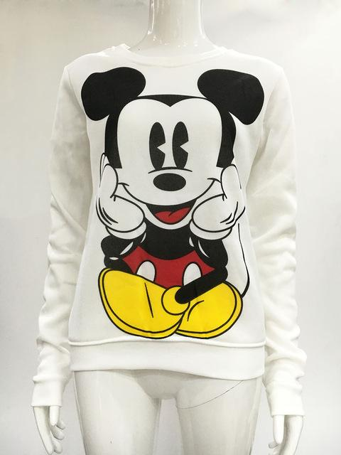 2018 Long-Sleeved Pullovers Mickey Hoodies O-neck Character Printed Red White Kawaii Styleuotelab-uotelab