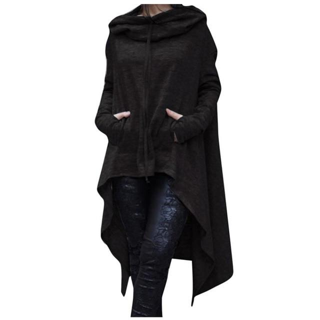 Winter Women Hooded Sweatshirts Cloak Cape Long Sleeve Pullovers Cotton Long Hoodieuotelab-uotelab