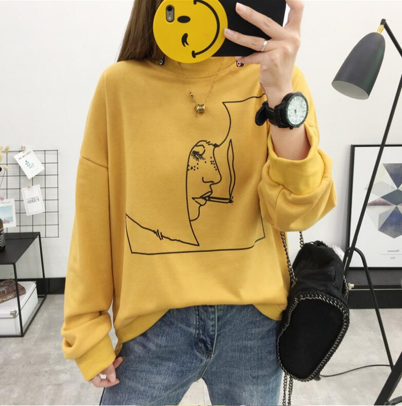 Korean loose autumn and winter head portrait printing Sweatshirts womenuotelab-uotelab