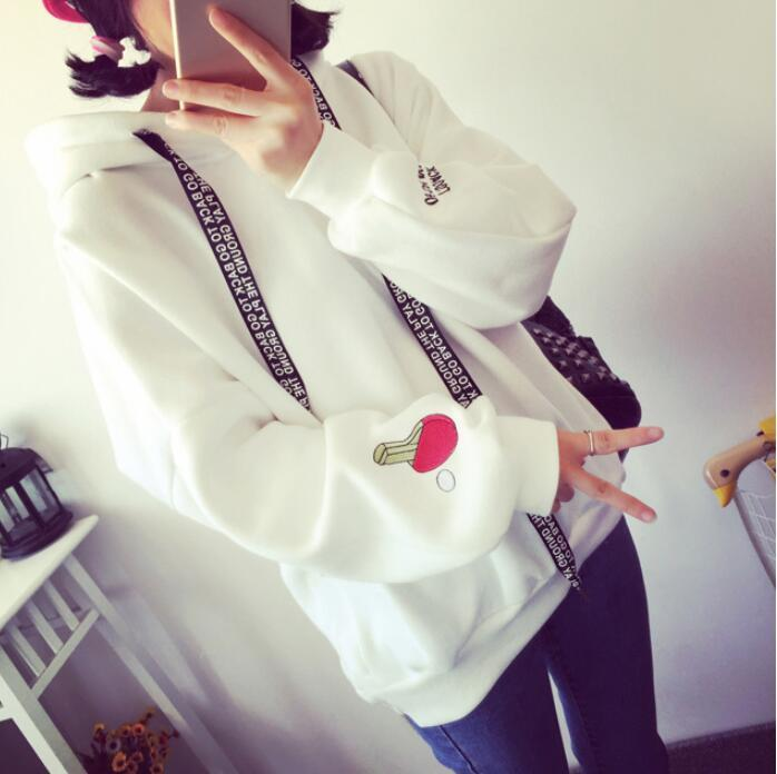 Hoodie with Hood Women Hoodies Cute Pattern Embroidered Letter Drawstring Street Sweatshirtsuotelab-uotelab