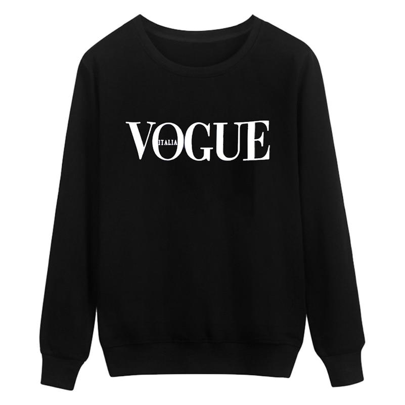 VOGUE Letter Print Women Hoodies Sweatshirts O-Neck Korean Casual Autumn Pullovers Femaleuotelab-uotelab