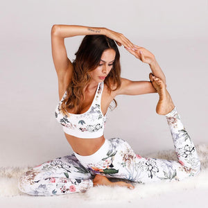 2018 New Flower Leaves Printed Fitness Set Suit Women's Tracksuits Paddeduotelab-uotelab