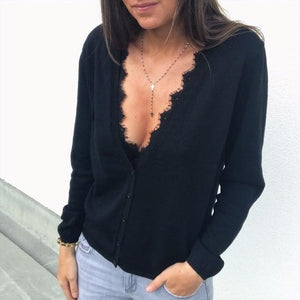 New Women's Lace Patchwork Long Sleeve Loose Casual Knitted Single Breasted Soliduotelab-uotelab
