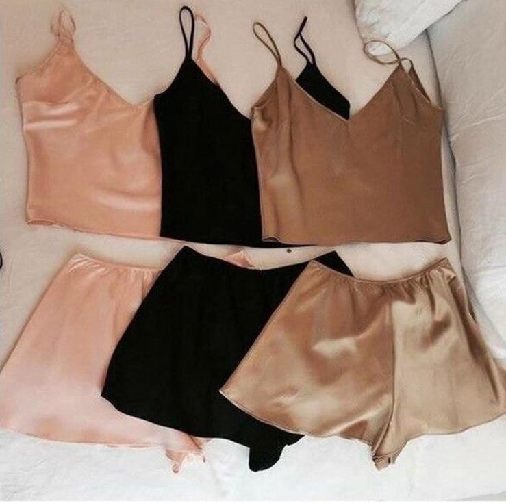 Satin 2 Piece Set Women Cami Top With Shorts Set Casual Sleevelessuotelab-uotelab