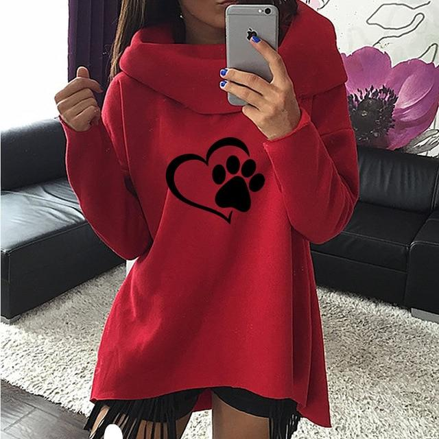 2018 New Fashion Heart Cat or Dog Pat Print Pattern Clothes Womenuotelab-uotelab
