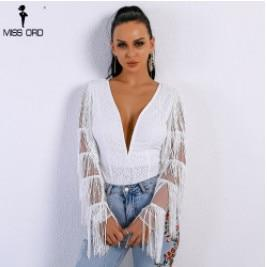 Missord 2017 Sexy Deep V Women Tassel Playsuit Long Sleeve Blackuotelab-uotelab
