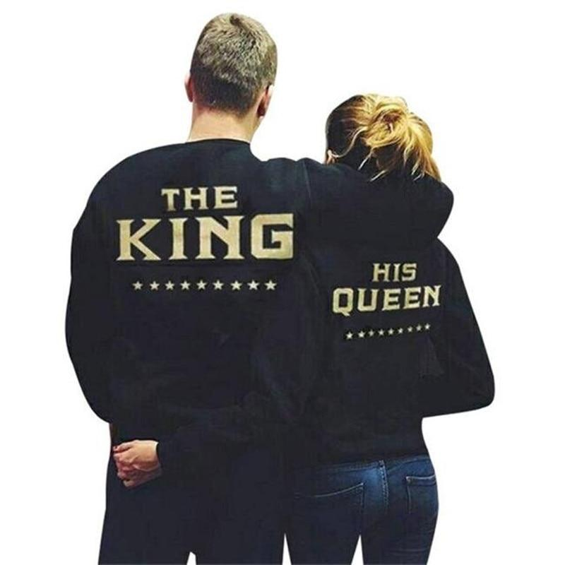 2017 New Hot King Queen Couple Letter Print Couples Tops Couple Hoodiesuotelab-uotelab
