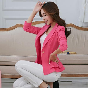 PEONFLY 2018 Women Blazers And Jackets Spring Autumn Fashion Single Button Blazeruotelab-uotelab