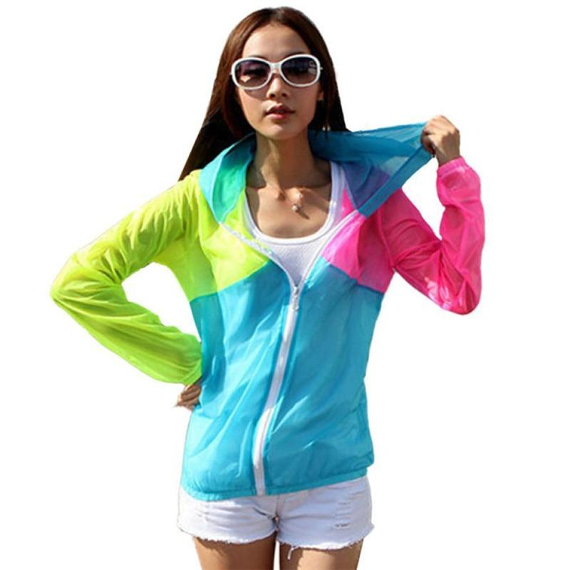 Fashion Style Women Hoodies Hooded Coat Long Sleeve Sun Protect Transparent Beachuotelab-uotelab