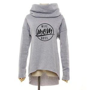 MOM WIFE BOSS Christmas Clothes 2018 Women Winter Hoodies Scarf Collar Longuotelab-uotelab