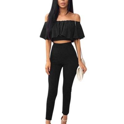 Sexy Two Pieces Set Ruffles Tops + Pants Women Summer Off Theuotelab-uotelab