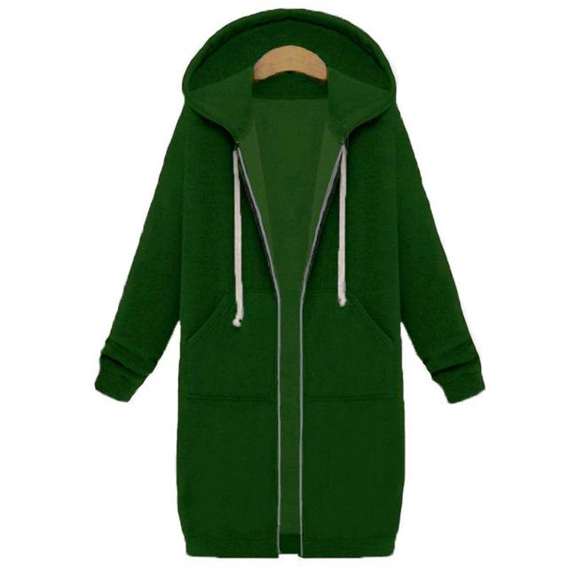 Oversized 2017 Autumn Women Casual Long Hoodies Sweatshirt Coat Pockets Zipuotelab-uotelab