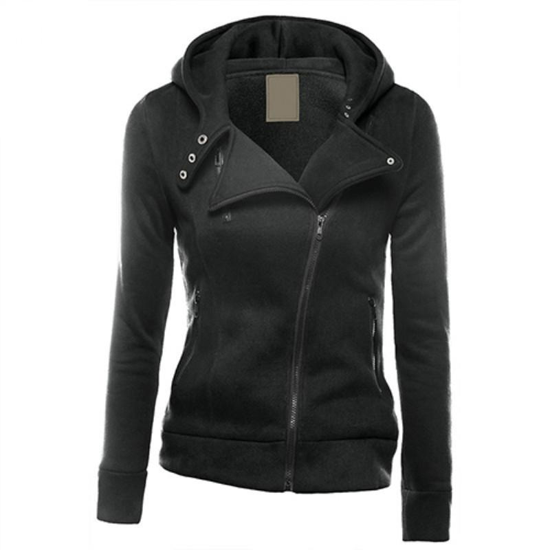 Women Fashion Zipper Hoodie Hooded Sweatshirt Coat Jacket Casual Slim Outwearuotelab-uotelab