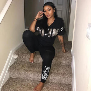 2018 Womens Tracksuit Sets Sexy Casual black V Neck 2 Piece Shortuotelab-uotelab
