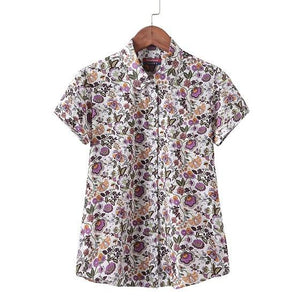 Floral Print Cotton Blouse Women Short Sleeve Shirts Female Summer Beachuotelab-uotelab