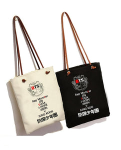 New Kpop Bts bangtan boys jimin suga canvas bag Fashion Schoolbag Shoulderuotelab-uotelab