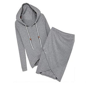 Autumn-summer Women Hooded Casual Sexy Tracksuits Women 2PCS Suit Hoodies Skirtsuotelab-uotelab