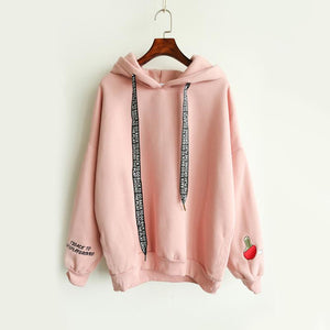 Harajuku Hooded Sweatshirts Embroidery Letter Drawstring Kawaii Pink Hoodies Girl Hooded Sweetuotelab-uotelab