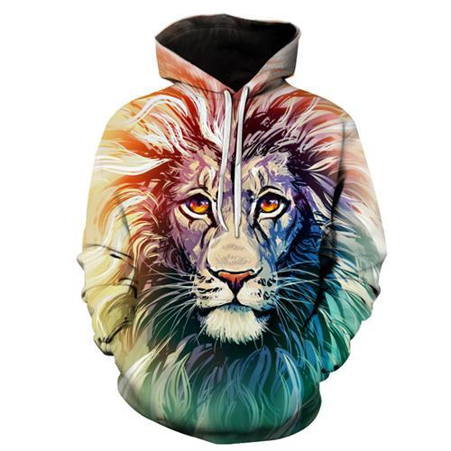 Spring and autumn fashion digital printing lion man / woman Hoodie hatuotelab-uotelab