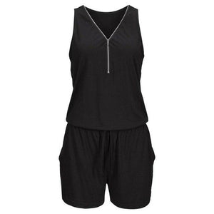 Feitong Womens Holiday Casual Zipper Mini Playsuit Ladies Sleeveless Short Jumpsuit Summeruotelab-uotelab