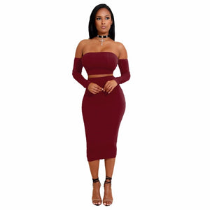 2018 New Fashion Sexy Women Two Pieces Set Off Shoulder Lace Upuotelab-uotelab