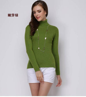 Women Sweater Cashmere blend Knitting Jumpers 28 colors Ladies Pullovers Turtleneck Woolenuotelab-uotelab