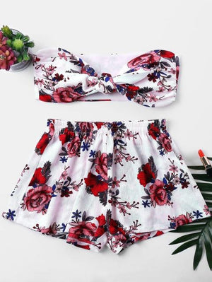 Flower Printed Mini Tube Top Shorts 2018 Summer 2 Pieces Womenuotelab-uotelab