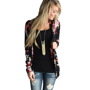 2018 Floral Print Autumn Long Sleeve Women Cardigan Plus Size Loose Casualuotelab-uotelab