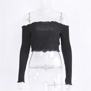 2017 Black Slash Neck Sweaters Sexy Off Shoulder Short Pullovers Knitted Cropuotelab-uotelab