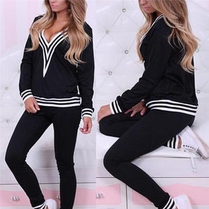 Womens TrackSuit With Hood Black Long Sleeve Crop Top And Legging Pantsuotelab-uotelab