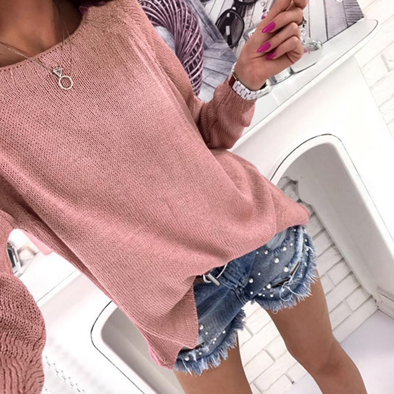Casual Autumn Women Sweater Knitted Pullover Solid Sweater Zipper Back Femaleuotelab-uotelab