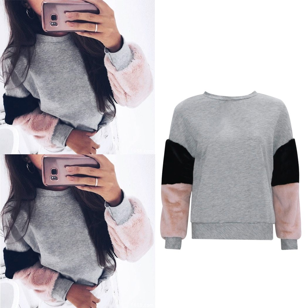 Women Hoodies Hot New Sleeve Color Spell Hoodies Fashion Hot Sale Autumnuotelab-uotelab