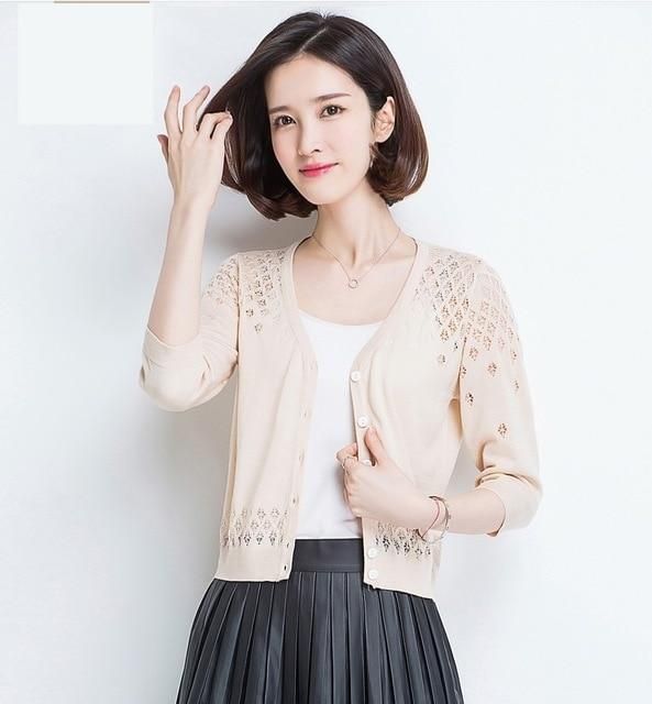 Sweater cardigan 2018 spring and summer V-neck short design thin loose cutoutuotelab-uotelab