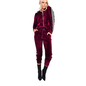 Sexy Zipper 2 Piece Velvet Long Jumpsuit sets Casual Hoodied Long Sleeveuotelab-uotelab