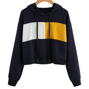 Patchwork Hooded Pullover Autumn stiching Color Hoodies Casual Women Sweatshirt casual Topsuotelab-uotelab