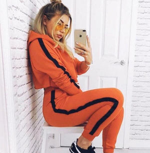 Women Tracksuit 2018 Fashion New Hooded Sweatshirt Crop Top and Pants Twouotelab-uotelab