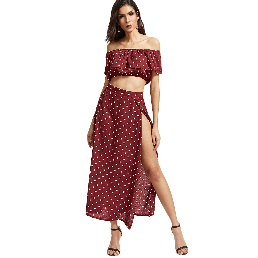 Women 2 Piece Set Off Shoulder Ruffle Crop Tops And Skirts Sexyuotelab-uotelab