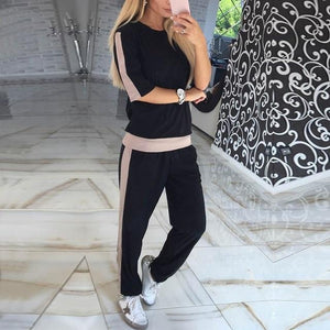 Women Sets Casual Tracksuit Newest Autumn O Neck Short Sleeves Sportinguotelab-uotelab