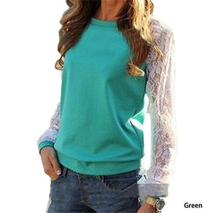 2018 Spring Women Casual Hoodies Sweatshirts Fashion Lace Patchwork Long Sleeve Sweatshirtuotelab-uotelab