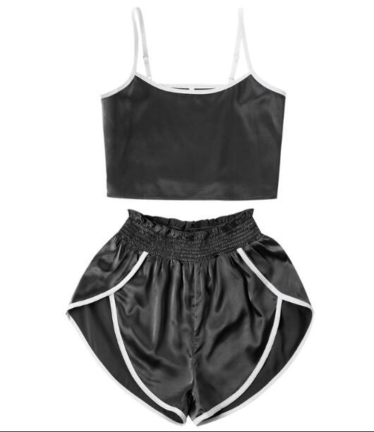 Sexy Summer Binding High Cut Shorts Two Piece Set Women Sleeveless uotelab-uotelab