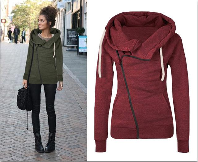 2016 New Women Sweatshirts Solid Color Hooded Jacket Long Sleeve Women's Hoodieuotelab-uotelab