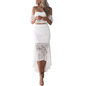 2pcs Women Set Summer Off Shoulder Lace Bohemian Tops Pencil Skirt Suituotelab-uotelab