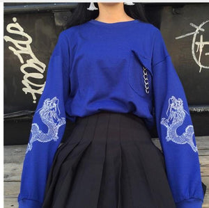 2018 Autumn Women Pullover Loose Chinese Dragon Pattern Harajuku Sweatshirt Feminine Blackuotelab-uotelab