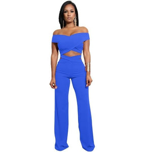 Fashion Solid Sexy Women 2Pcs Set Night Clubwear off shoulder Crop Top+Fulluotelab-uotelab