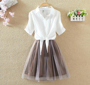 Women Suits Casual Clothing Sets Crop Top Fold Tulle Skirt Blouse 2uotelab-uotelab