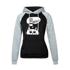 2018 Autumn Winter New Hoodies For Women Sweatshirt Kawaii CAT MEOW Printuotelab-uotelab